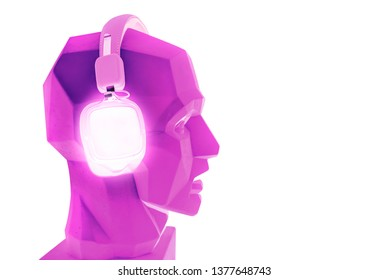 neon bluetooth square headphones headset pink purple plaster head dummy bot modern creative sound music audio listener audiophile melomaniac isolated on white background