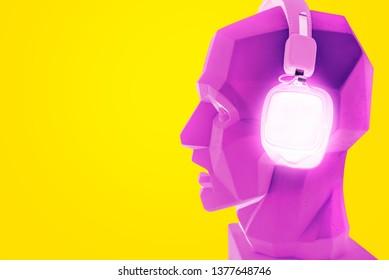 neon bluetooth square headphones headset pink purple plaster head dummy bot modern creative sound music audio listener audiophile melomaniac on yellow background