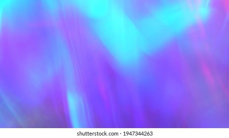 Neon bright pink and blue lights. Crystal prism refracting light in vivid colors. Diamond holographic abstract background for holiday or party