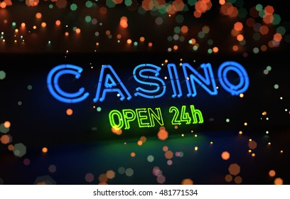 Neon Casino Open 24h Sign. 3D illustration