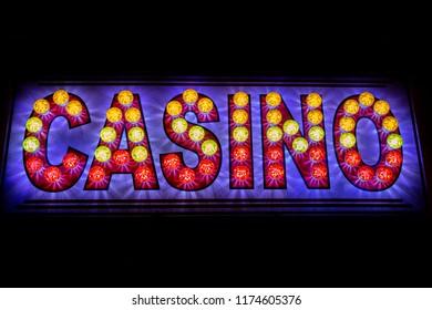 A neon Casino sign.
