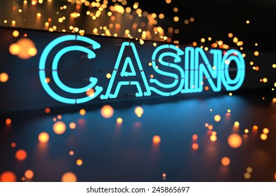 Neon Casino Sign Abstract Background. 3D illustration