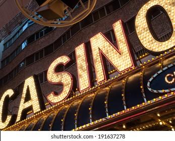 Neon casino sign lit up at night, Las Vegas, Nevada, USA