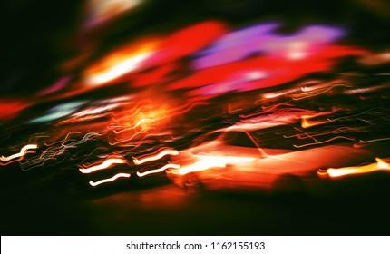 Neon City Lights. Illumination and night lights of New York City. Intentional motion blur