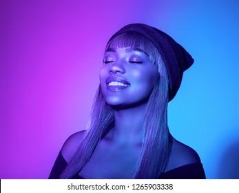 Neon color woman afro blue color