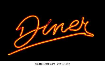 Neon Diner sign often found on traditional roadside cafes in the United States a perfect example on American Culture