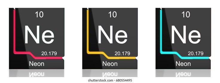 Neon element symbol from the periodic table in three colors