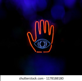 Neon Eye in Hand Neon Composite Image, Psychic Palm Reader, All Seeing Eye Concepte