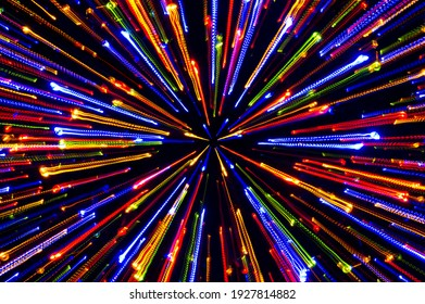 Neon firework lights, bright radial laser beam lights background, nightlife and party concept, disco and dancing nightclubs pattern