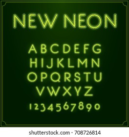 Neon Font Type Alphabet. Glowing in Raster. With Numbers.