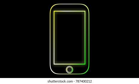 Neon Frame Smartphone Beautiful neon frame Glowing frame with space for text or workpiece. You can contribute to your work well.