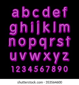 Neon glow alphabet.  design party retro 3d art neon font,