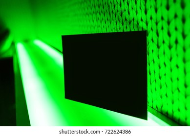 Neon glow, green background with a black card for your text
