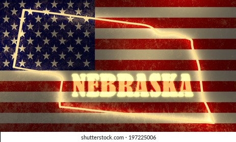 neon glowing outline map of the nebraska state on usa national flag backdrop