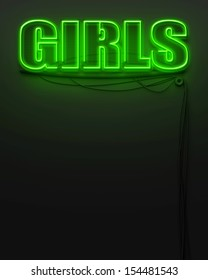 Neon glowing sign with word Girls and copyspace