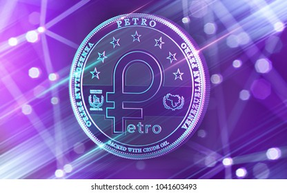 Neon glowing Venezuelian Petro concept coin in Ultra Violet colors with blockchain nodes in blurry background. 3D rendering