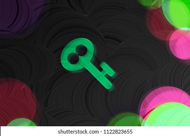 Neon Green Key Glass Icon on the Black Painted Background. 3D Illustration of Green Key, Lock, Open, Password, Protection Icon Set on the Dark Black Background.