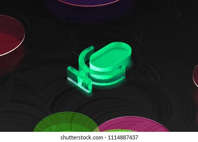 Neon Green Microphone Glass Icon on the Black Background. 3D Illustration of Green Mic, Microphone, Old Microphone, Radio Mic Icon Set on the Dark Black Background.