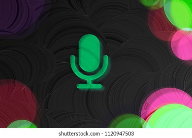Neon Green Microphone Glass Icon on the Black Painted Background. 3D Illustration of Green Mic, Microphone, Old Microphone, Radio Mic Icon Set on the Dark Black Background.
