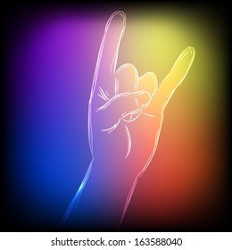Neon hand show the sign of rock