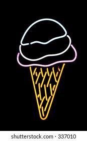 Neon ice cream cone.