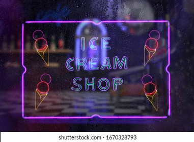 Neon Ice Cream Shop Sign in Rainy Window