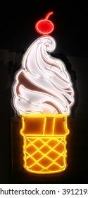 Neon ice cream sign.