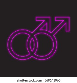 A Neon Icon Isolated on a Black Background - Gay