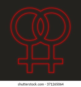 A Neon Icon Isolated on a Black Background - Lesbian