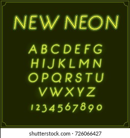 Neon Italic Font Type Alphabet. Glowing in Raster. With Numbers.