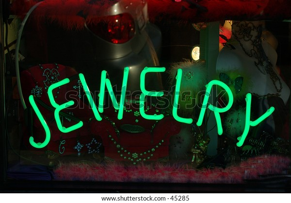 """Neon """"Jewelry"""" sign in a Los Angeles Fashion District"""