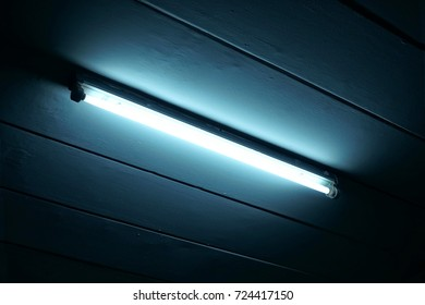 A neon lamp at ceiling