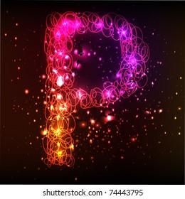 Neon Light Alphabets. Letter P