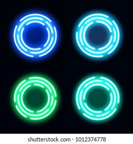 Neon light circles set. Shining round techno frames collection. Night club electric 3d banners on dark backdrop. Blue and green neon abstract background with glow. Technology illustration.