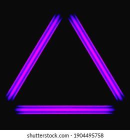 neon light triangle frame made of ultraviolet blackligt lamps