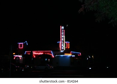Neon Lighted Building