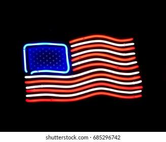Neon lights American flag, USA