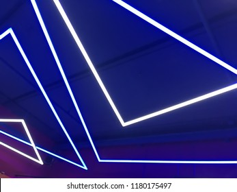 Neon lights on blue background