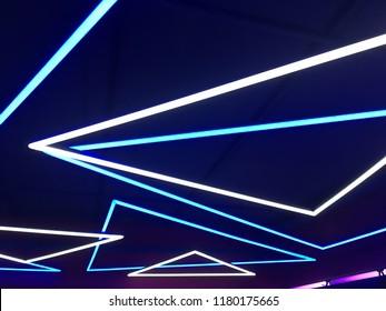 Neon lights on blue background