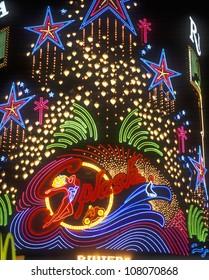 Neon lights of Splash Casino and Hotel at night, Las Vegas, Nevada