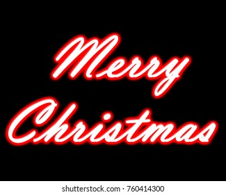 Neon Merry Christmas title on black isolated background.
