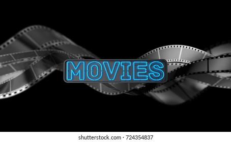 Neon Movies Sign on Dark Background. 3D illustration