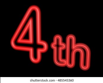 Neon number 4th isolated on black, 3d illustration