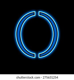Neon number zero is blue, on a black background