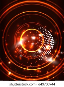 Neon orange circles abstract pattern background