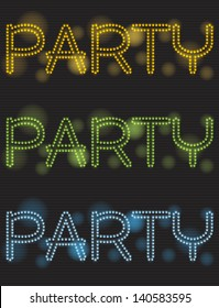 Neon party shiny text design, illustration