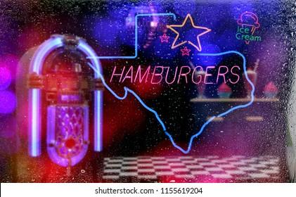 Neon Photo Composite, Texas Hamburgers and Ice Cream With Jukebox