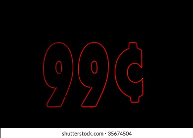 neon red 99 cents sign