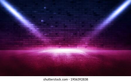 Neon scene empty with smoke and spotlight on brick wall.