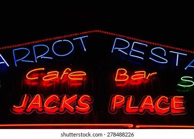 Neon shining signboard at night